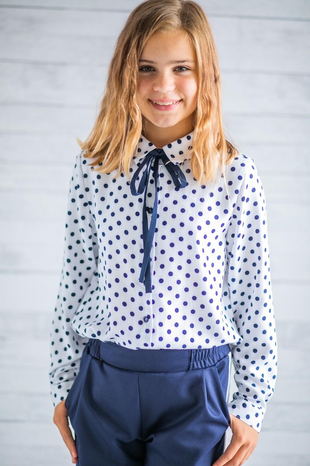Сорочка біла в горох для дівчаток (підлітків) 7-15 років