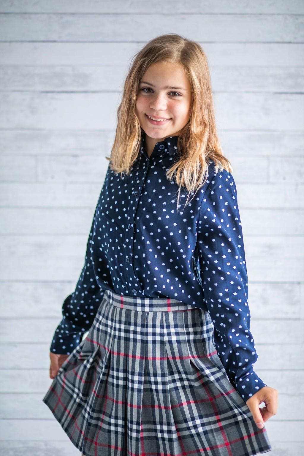 Сорочка синя в горох для дівчаток (підлітків) 7-15 років